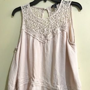 Forever 21 soft Pink crochet open back blouse